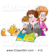 Clip Art of a Cat Watching an Average Family of a Mother, Father and Son Writing in a Family Photo Album by Alex Bannykh