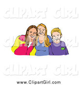 Clip Art of a Caucasian Boy and His Two Sisters by Prawny