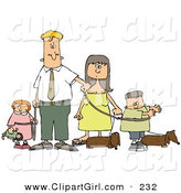 Clip Art of a Caucasian Businessman and Woman Walking Their Dachshund Dogs and Children on Leashes by Djart