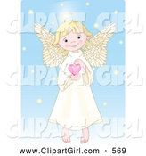 Clip Art of a Caucasian Cute, Innocent, Blond Femal Angel with a Halo, Holding a Pink Heart by Pushkin
