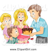 Clip Art of a Caucasian Family Giving a Birthday Cake to a Woman by BNP Design Studio
