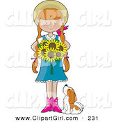 Clip Art of a Caucasian Sunflower Girl by Maria Bell