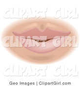 Clip Art of a Caucasian Woman's Lips and Mouth by AtStockIllustration