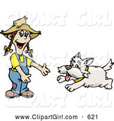 Clip Art of a Cheerful Happy Dog Running to a Little Girl by Dennis Holmes Designs