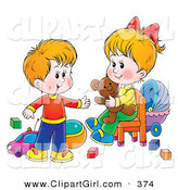 April 22nd, 2013: Clip Art of a Cheerful Little Brother and Sister in a Toy Room, Playing with Blocks, Balls, Cars and a Teddy Bear by Alex Bannykh