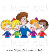Clip Art of a Cheerful Mother or Teacher Standing Behind Four Children Holding Hands by Alex Bannykh