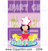 Clip Art of a Chef Girl Sitting on a Bench with a Plate of Sushi in a Kitchen by Mayawizard101