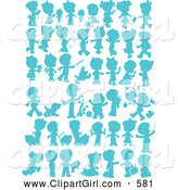 Clip Art of a Child, Pet and Baby Silhouettes in Blue on White by Alex Bannykh
