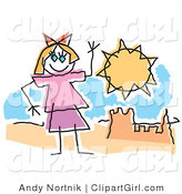Clip Art of a Childlike Drawing of a Little Girl Waving Hello and Playing by a Sandcastle on a Sunny Beach by Andy Nortnik