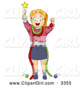Clip Art of a Christmas Girl Pretending to Be a Christmas Tree by BNP Design Studio