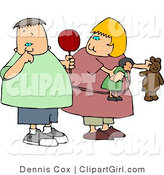 Clip Art of a Chubby Girl Watching Nasty Boy Pick His Nose with His Pointer Finger by Djart