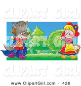 Clip Art of a Colorful Painting of a Girl Playing the Part of Little Red Riding Hood and a Boy in a Wolf Costume, Entertaining People During a Drama Play by Alex Bannykh