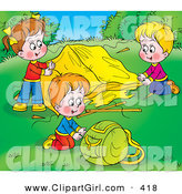 Clip Art of a Colorful Picture of Children Setting up Their Tent at a Campground by Alex Bannykh