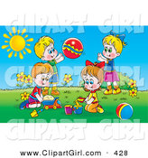 Clip Art of a Colorful Picture of Two Boys and Two Girls Playing with Sand, Toy Cars and a Ball Outside on a Sunny Day by Alex Bannykh
