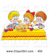 Clip Art of a Colorful Setting with a Girl and Two Boys Eating Bread and Bagels at a Picnic Table by Alex Bannykh