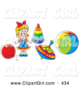 Clip Art of a Colorfully Dresed Little Blond Girl Playing with a Balloon, Rings, Top and Ball by Alex Bannykh