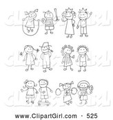 Clip Art of a Coloring Page of a Stick Girl Juming Rope, Boy Playing Baseball, King, Queen, Farmer and Wife, Skating Girl, Skateboarding Boy, Cheerleader and Football Player by C Charley-Franzwa