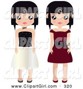 Clip Art of a Couple of Black Haired Female Paper Dolls in Black and White and Red Formal Dresses and Gowns by Melisende Vector