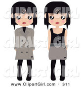 Clip Art of a Couple of Black Haired Female Paper Dolls in Brown and Black Tights, Coats and Dresses by Melisende Vector