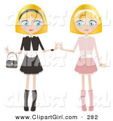 Clip Art of a Couple of Blond Haired, Blue Eyed Caucasian Women, Twins, Dressed in Pink and Black and White, Standing Side by Side and Touching Hands by Melisende Vector