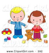 Clip Art of a Couple of Kids, a Boy and Girl Playing with a Teddy Bear, Blocks and a Car by Alex Bannykh