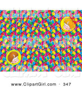 Clip Art of a Couple of Portraits of Two Happy Children over a Background of Colorful Balls by Alex Bannykh