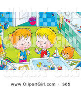 Clip Art of a Curious Cat Watching a Boy and Girl Playing with Toys in a Bathroom Sink by Alex Bannykh