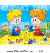 Clip Art of a Curious Ginger Cat Watching a Boy and Girl Making Sand Castles with Buckets in a Sand Box by Alex Bannykh