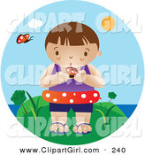 Clip Art of a Curious Little White Boy Wearing an Inner Tube and Holding a Butterfly While Standing near the Beach on a Hot Summer Day by Vitmary Rodriguez