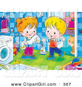 Clip Art of a Cute and Happy Boy and Girl Standing by a Washing Machine, a Cat Standing Behind a Doorway by Alex Bannykh