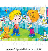 Clip Art of a Cute and Happy Boy Talking with His Sister While Standing by a Cat in a Bathroom by Alex Bannykh