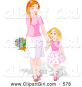 Clip Art of a Cute and Happy Young Daughter Holding Hands and Walking with Her Mom on Mother by Pushkin