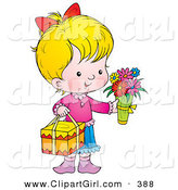 Clip Art of a Cute and Sweet Little Girl Carrying Flowers and a Gift on Mothers Day by Alex Bannykh