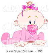 Clip Art of a Cute Baby Girl in a Sleeper, Sucking in a Pacifier and Trying to Crawl by Pushkin