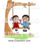 Clip Art of a Cute Black Valentine Kid Couple Sharing a Lolipop on a Swing by BNP Design Studio