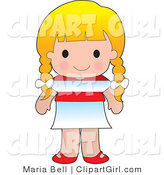 Clip Art of a Cute Blond Austrian White Girl Wearing a Flag of Austria Shirt by Maria Bell