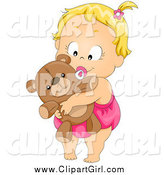 Clip Art of a Cute Blond Baby Girl Sucking on a Pacifier and Hugging Her Teddy Bear by BNP Design Studio