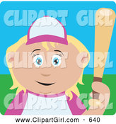 Clip Art of a Cute Blond Caucasian Girl Batting During a Baseball Game by Dennis Holmes Designs