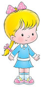 Clip Art of a Cute Blond Caucasian Girl in a Blue Dress, Wearing Her Hair in a Braid by Alex Bannykh