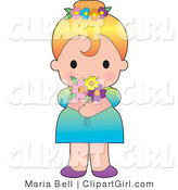 Clip Art of a Cute Blond Caucasian Girl in a Dress, Wearing Flowers in Her Hair and Holding a Bouquet by Maria Bell