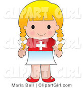 Clip Art of a Cute Blond Caucasian Swiss Girl Wearing a Flag of Switzerland Shirt by Maria Bell