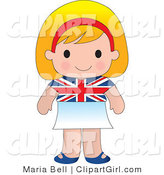 Clip Art of a Cute Blond English Girl Wearing a Flag of Britian Shirt and White Skirt by Maria Bell
