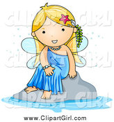 Clip Art of a Cute Blond White Fairy Sitting by Water by BNP Design Studio