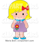 Clip Art of a Cute Blond White Girl Wearing a Purple Floral Dress by Maria Bell