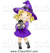 Clip Art of a Cute Blond White Halloween Girl in a Witch Costume, Holding a Voodoo Doll by BNP Design Studio