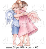 Clip Art of a Cute Boy and Girl Angel Hugging by