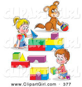 Clip Art of a Cute Boy and Girl, Brother and Sister, and Their Puppy, Playing with Blocks and a Ball by Alex Bannykh