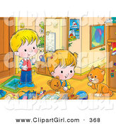 Clip Art of a Cute Boy and Girl Playing in a Room, Watching a Cat Groom Its Paw by Alex Bannykh