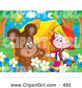 Clip Art of a Cute Brown Bear Chatting with Little Red Riding Hood in a Flower Bed near a House by Alex Bannykh