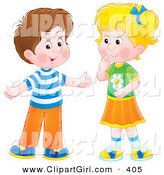 Clip Art of a Cute Brunette Boy Holding His Arms out While Talking to a Little Blond Girl by Alex Bannykh